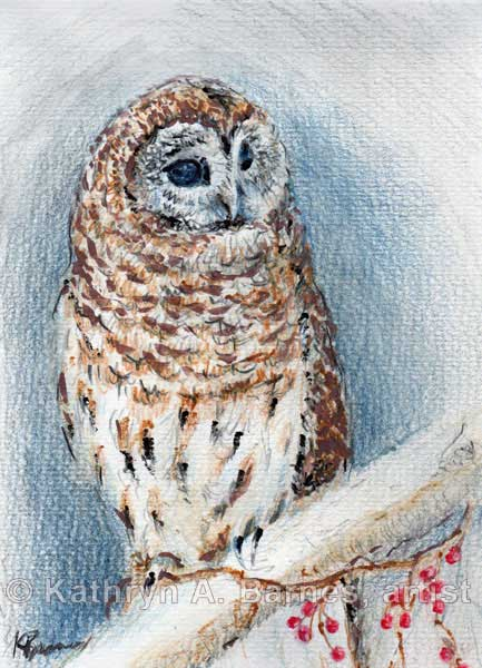 Winter Berry Owl by artist Kathryn Barnes
